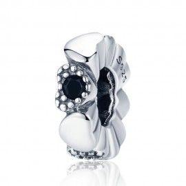 Distanziatore in argento Cuore nero