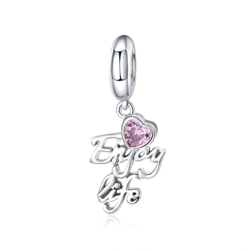 Sterling silver pendant charm Enjoy life