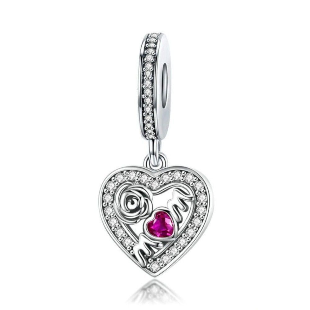 Zilveren hangende bedel Mamma hart met roos