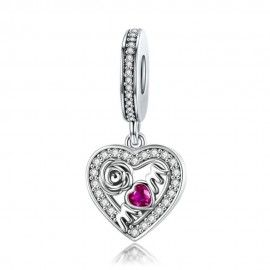 Sterling silver pendant charm Mom heart with rose