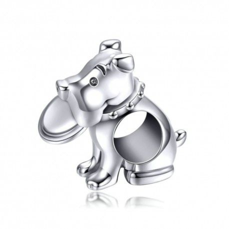 Sterling silver charm Dog with frisbee