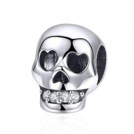 Charm en argent Crâne aux dents brillantes