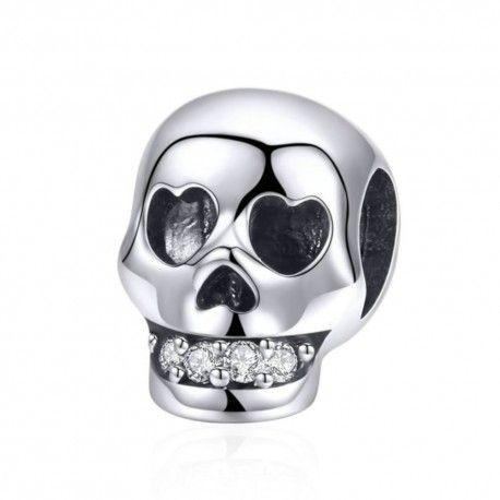 Zilveren bedel Schedel met glanzende tanden