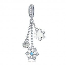 Sterling silver pendant charm Christmas snowflake