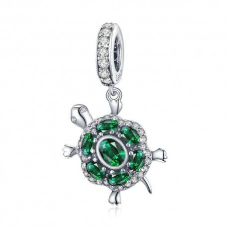 Sterling silver pendant charm Green turtle