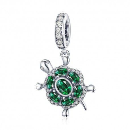 Zilveren hangende bedel Groene schildpad