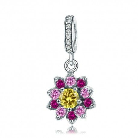 Zilveren hangende bedel Bloeiende bloem