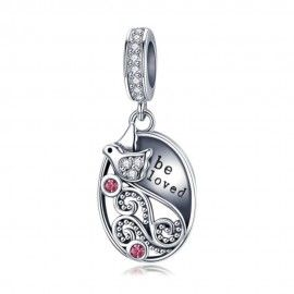 Sterling silver pendant charm Be loved