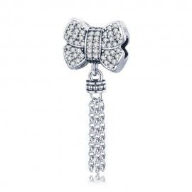 Sterling silver pendant charm Bowknot with tassel