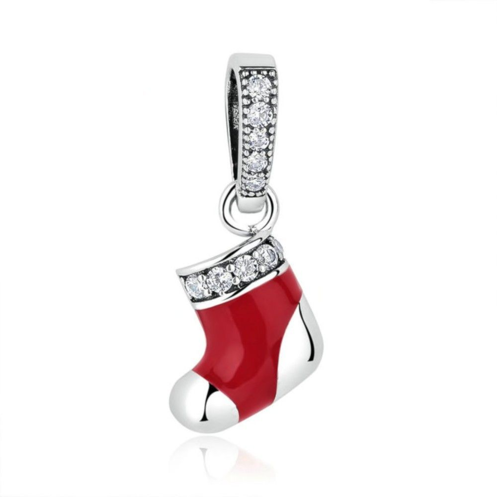 Sterling silver pendant charm Christmas sock