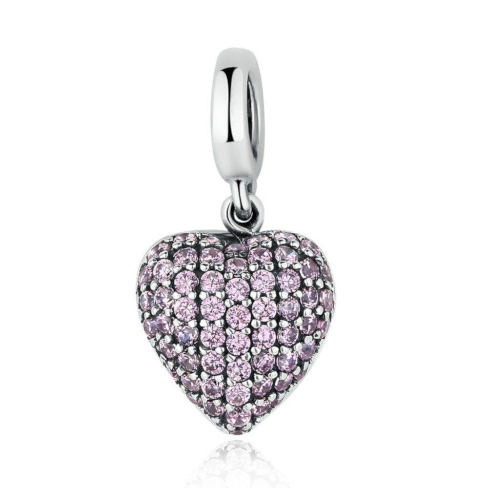 Zilveren hangende bedel Roze hart