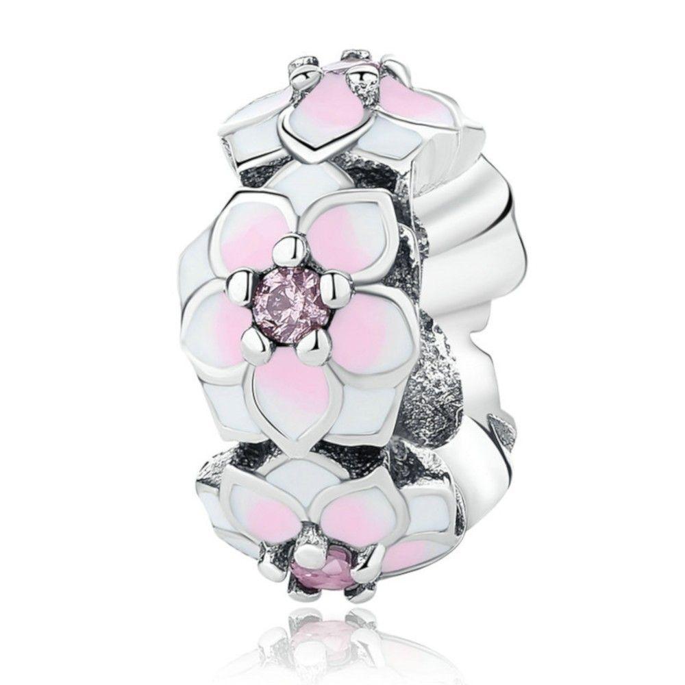 Zilveren spacer Magnoliabloem