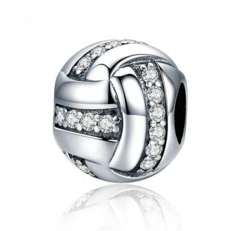 Sterling silver charm Glittering ribbon