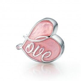 Sterling silver charm Flipped by love pink