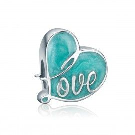 Sterling silver charm Flipped by love blue
