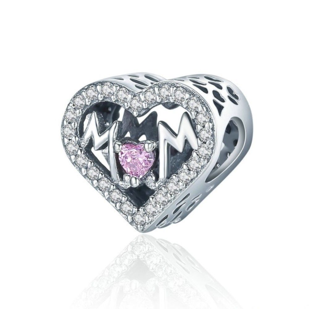Sterling silver charm Heart with Mom
