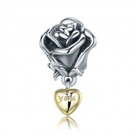 Sterling silver pendant charm Rose with 'You' in a golden heart