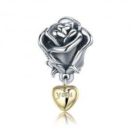 Zilveren hangende bedel Roos met 'jij' in een gouden hart