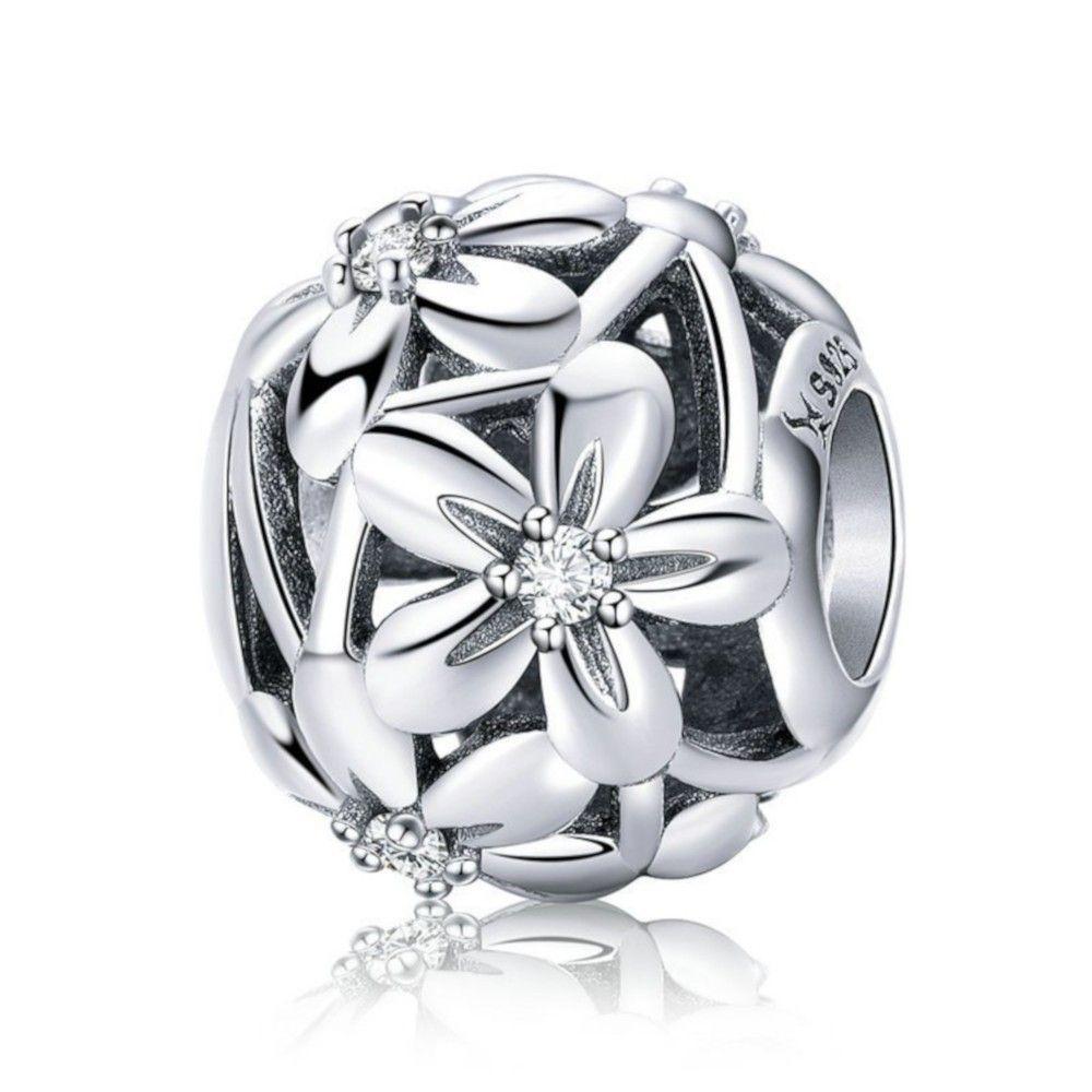 Zilveren bedel Bloeiende bloemen