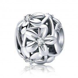 Sterling silver charm Flourishing flowers