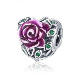Charm en argent Émaillée fleur rose