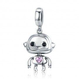 Zilveren hangende bedel Love robot