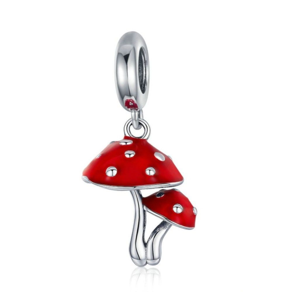 Zilveren hangende bedel Rode paddestoel