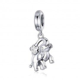 Zilveren hangende bedel Gelukkige olifant