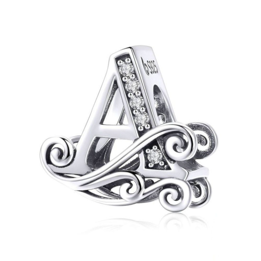 Sterling silver alphabet charm with transpatant zirconia stones letter A