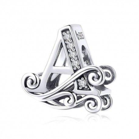 Zilveren alfabet bedel letter A met  transpatante zirkonia steentjes