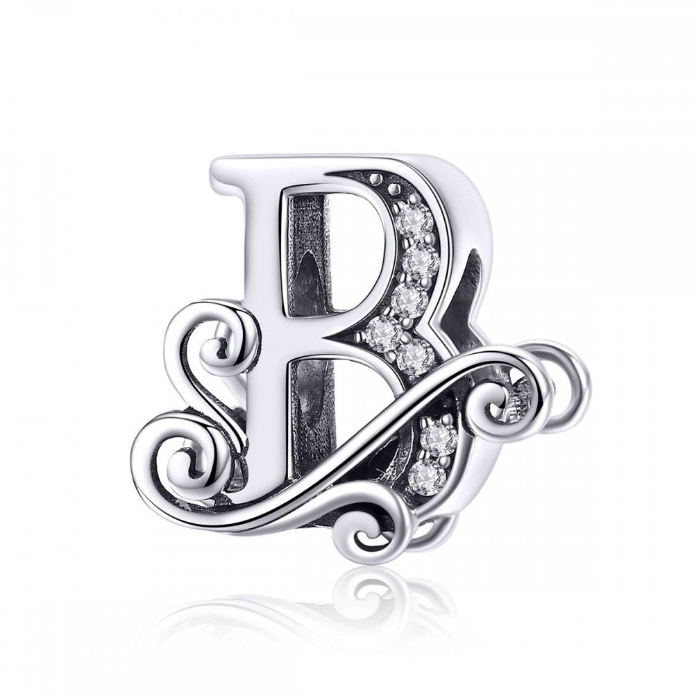 Sterling silver alphabet charm with transparent zirconia stones letter B