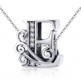 Zilveren alfabet bedel letter E met  transpatante zirkonia steentjes