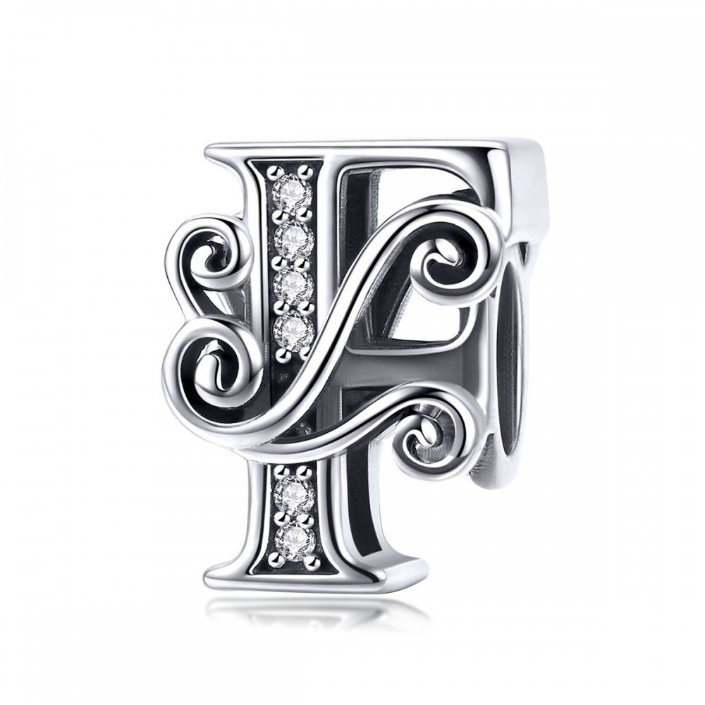 Sterling silver alphabet charm letter F with transparent zirconia stones
