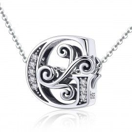 Sterling silver alphabet charm letter G with transparent zirconia stones