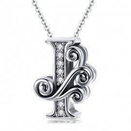 Zilveren alfabet bedel letter I met  transpatante zirkonia steentjes