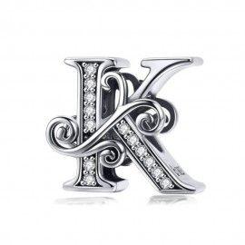Zilveren alfabet bedel letter K met transpatante zirkonia steentjes