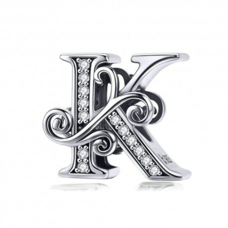 Sterling silver alphabet charm letter K with transparent zirconia stones