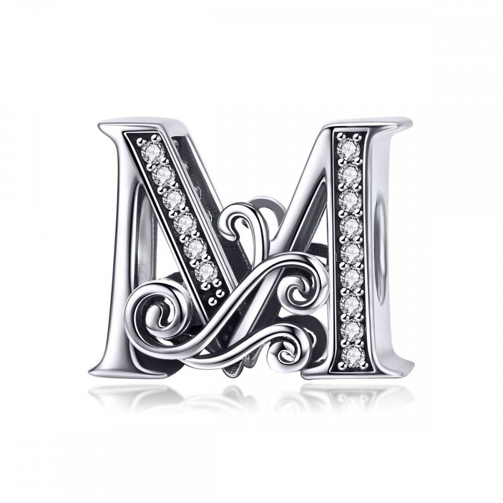 Sterling silver alphabet charm letter M with transparent zirconia stones