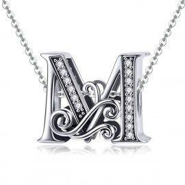 Zilveren alfabet bedel letter M met  transpatante zirkonia steentjes