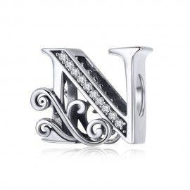 Zilveren alfabet bedel letter N met  transpatante zirkonia steentjes