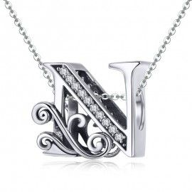 Sterling silver alphabet charm letter N with transparent zirconia stones