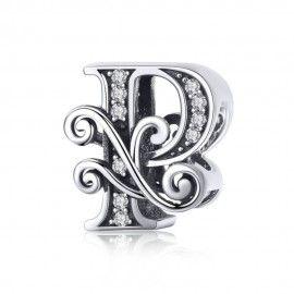 Zilveren alfabet bedel letter P met  transpatante zirkonia steentjes