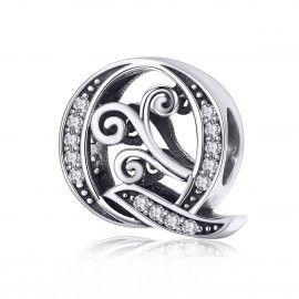Zilveren alfabet bedel letter Q met transpatante zirkonia steentjes