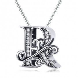 Sterling silver alphabet charm letter R with transparent zirconia stones