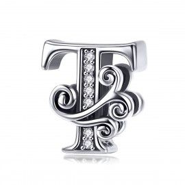 Sterling silver alphabet charm letter T with transparent zirconia stones