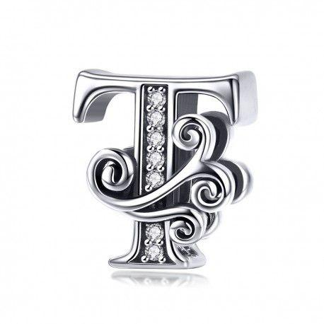 Zilveren alfabet bedel letter T met  transpatante zirkonia steentjes