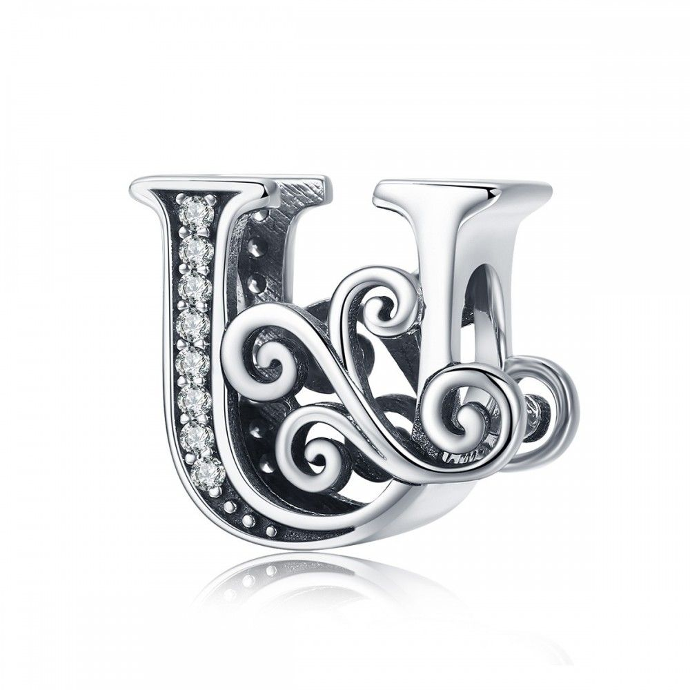 Sterling silver alphabet charm letter U with transparent zirconia stones