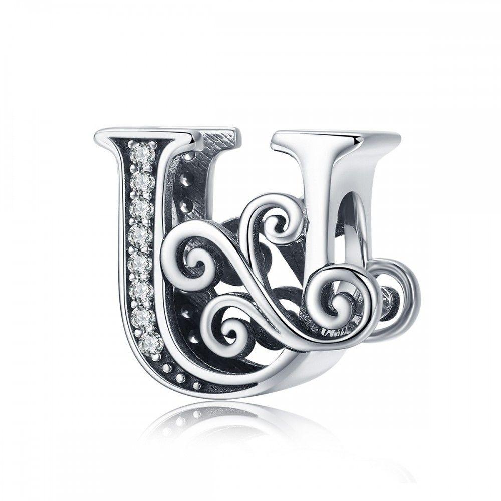 Zilveren alfabet bedel letter U met  transpatante zirkonia steentjes