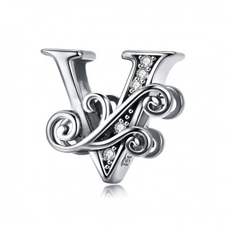 Sterling silver alphabet charm letter V with transparent zirconia stones