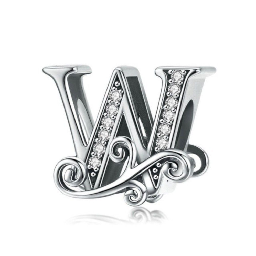 Zilveren alfabet bedel letter W met  transparante zirkonia steentjes